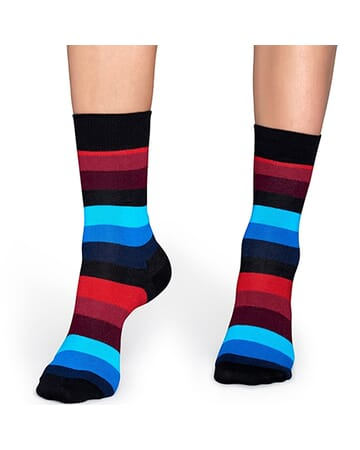 Black Red Blue Stripe Sock