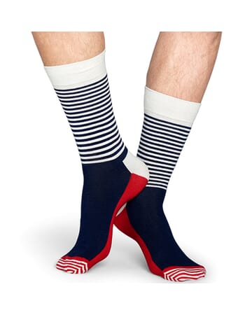 Navy White Half Stripe Sock